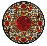 Black Marble Dining Table Top Carnelian Stone Inlaid Work Patio Table 42 Inches