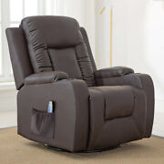 Comhoma Leather Recliner Chair Rocker With Heated Massage 360 Degree Swivel Sofa