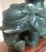 Vintage Jade Carving 8 High X 6 Wide Elephant Figurine On Carved Wooden Stand