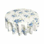 Watercolor Floral Tablecloth Round 60 Inches Blue And White Tablecloth Waterp...