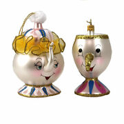 De Carlini Dancing Teapot And Little Cup Ornament Belle Italian Beast V3579 And