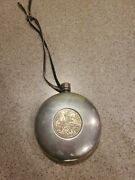 Vtg British Pewter Round Flask Water Canteen Leathet Strap Celtic Knots Horses