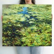 Pond Oil Painting Art Canvas Impressionism Abstract Botanical Landscape 24x20