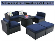 Patio Furniture Set With Gas Fire Pit Rattan Wicker Chairs Table Sectional Sofa