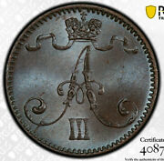 1893 Finland Under Russian Empire 1 Penni Pcgs Ms65bn. Blue Toning - A141