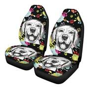 Cute Dogs 2pcs Car Front Seat Covers Universal Fit Truck Cushion Protectors 4