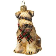 Soft Coated Wheaten Terrier With Scarf Polish Glass Christmas Ornament