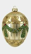 Ivory Standard Egg Faberge Inspired Glass Ornament Christmas Easter Decoration