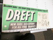 Dreft Laundry Soap Detergent 1930s Store Display Sign Poster Billowy Suds