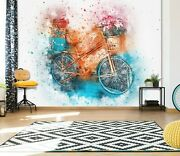 3d Watercolor Bicycle A724 Transport Wallpaper Mural Self-adhesive Removable Amy
