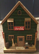 Vintage Set Of 4 1999 Coca-cola Coasters Wooden General Store Themed Holder 1999