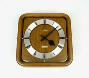 Original Mid Century 60s Wooden Vintage Wall Clock With Melody Byjunghans