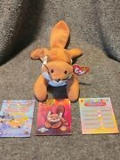 Sly Beanie Baby 4115 W/shinny Collectors Card And Trivia Scratch Card Set