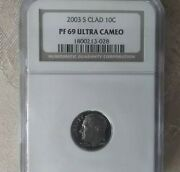 2003 S Clad Ngc Pf 69 Ultra Cameo 10c Roosevelt Proof San Francisco Minted Dime
