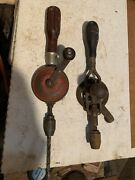 Two Vintage / Antique Egg Beater Hand Drills Made In Usa Craftsman Hand Tools
