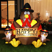 Led Inflatable Thanksgiving Height 6ft Happy Lighted Turkey Family Blow Up Outdo
