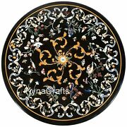Round Black Marble Dining Table Top Antique Design Conference Table 48 Inches