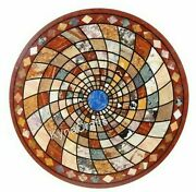 Antique Check Pattern Dining Table Top Round Marble Patio Table For Home 36 Inch