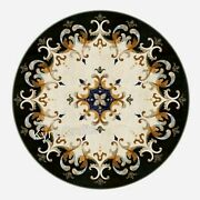 Black Marble Dining Table Top Antique Pattern Patio Sofa Table For Home 48 Inch