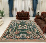 1642 Vintage French Hand Made Aubusson Rug Needlepoint Oriental Wool Area Rug