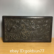 13.7andrdquoold Chinese Antiques Exquisite Sandal Wood Dragon Pattern Storage Box