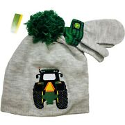 John Deere Tractor Toddlers 2t-4t Knit Hat And Mitten Set New With Tag