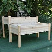 2 Tier Elevated Raised Garden Bed Planter Box For Flower Vegetable Grow Solid