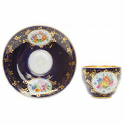Antique Porcelain Coffee Cup And Saucer Gilding Underglaze Hand Painting Germany