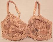 Adore Me Women's Unlined Wired Floral Lace Bra Ah4 Blush Pink Size 34ddd Nwt