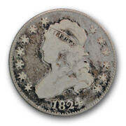 1824/2 25c Capped Bust Quarter Very Good Vg Key Date Us Coin R217