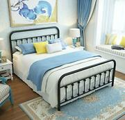 Queen Platform Metal Bed Frame With Headboard And Footboard,vintage Victorian St