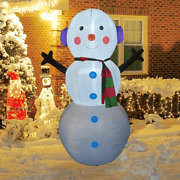 6 Ft Christmas Inflatable Outdoor Snowman With Earbuds Blow Decoration With Led