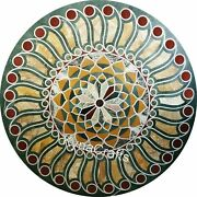 Round Marble Dining Table Top Antique Pattern Patio Table For Home Decor 36 Inch