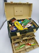 Vintage Plano Plastic Tackle Fishing Box Usa 787 Full Lures Bait Reel New Old
