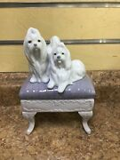 Lladro 6688 Looking Pretty Maltese Dogs W/bench Gloss Finish Figurine Pre-owned