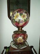 Stunning Victorian Antique Gone With The Wind Gwtw Parlor Oil Lampelectrified