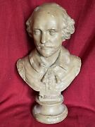 Large Antique 19th C Victorian Portrait Bust Poet Playwright William Shakespeare