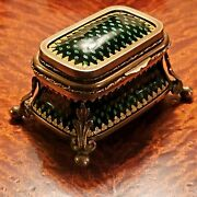 Antique French Napoleon Bronze And Guilloche Enamel Footed Trinket/jewel Box
