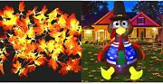 2 Pack Lighted Fall Garland 19.6 Ft 60 Led And 6ft Inflatable Turkey Thanksgiving