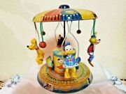 Disney Donald Duck Tin Toy Merry-go-round Vintage Made In Japan Very Rare