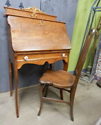 Antique Oak Small Drop Front Secretary Desk Dutch Country Arts And Crafts W Chair