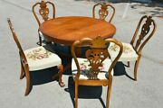 Antiques Dining Extensible Table Set Of 5 Mahogany Embroidered Chairs
