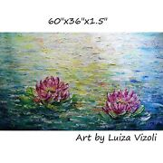 Pink Lotus Extra Large Painting Conversation With Monet Abstract Water Lily