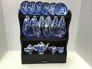 Vintage Blue Willow Childand039s Tea Set Display Shelf Hutch 23 Pieces Made In Japan
