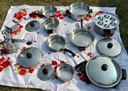 Saladmaster Vtg Lot Cookware Stainless Steel 17 Pieces Skillet Pots Pans