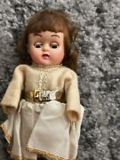 Vintage Original Old Plastic Female Doll With Hair And Moving Eyes 1940s Dressed