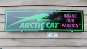 New Arctic Cat Snowmobile Dealer/service Sign/ad W/cat Logo And Tagline 1'x46