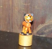 Vintage Wooden Push Puppet Collapsing Orange Tabby Cat Toy Made In Italy Wakouwa
