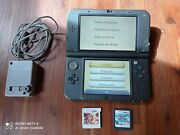 Nintendo 3ds Xl Black Console With Charger And 2 Games Nintendogs Mario And Sonic