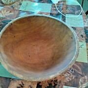 Vintage Bread Bowl Wooden Carved Salad Farmhouse Style